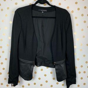Eva Longoria Faux Leather Zipper Detail Blazer